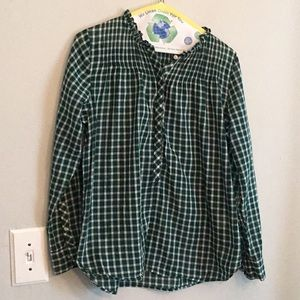 J. Crew size 8 green popover long sleeved blouse